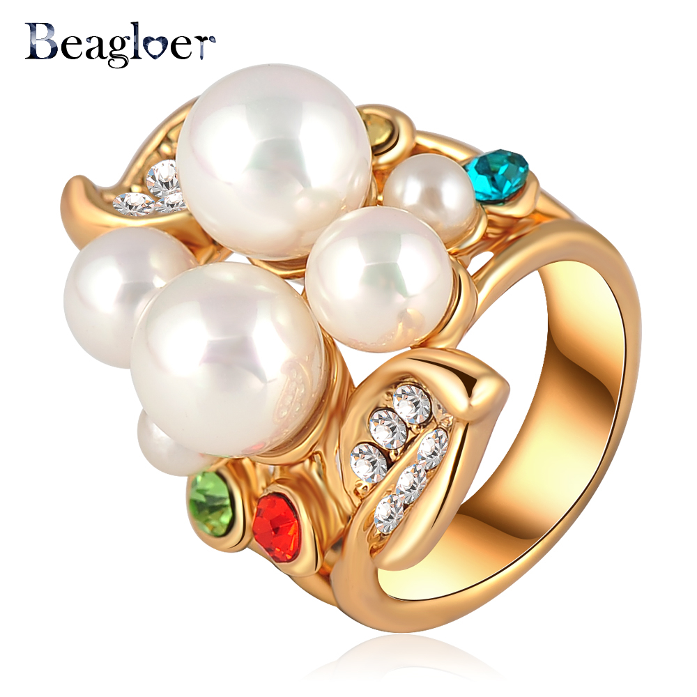 Beagloer Shining Rhinestone Ring Gold Color Austrian Crystal Imitation Pearl Rings Jewellery 26*22mm Ri-HQ0054
