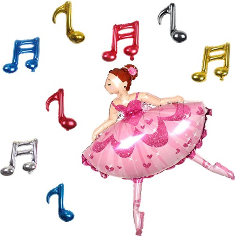 9 pcs/set Dancing Girl Music Heaven Music NOTES balloons birthday party supplies inflatable globos wedding decor